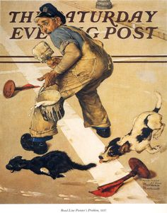 norman rockwell | Road Line Painter's Problem - Norman Rockwell - WikiPaintings.org