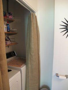 Laundry closet with burlap curtains. Is that an Ikea curtain rod I spy?