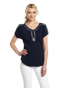 Lucky Brand Women's Spring Barrington Short Sleeve Top - http://clothing.wadulifashions.com/lucky-brand-womens-spring-barrington-short-sleeve-top/