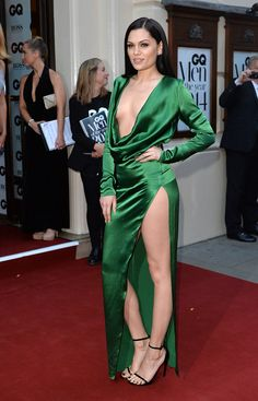 Jessie J leaves the world green with envy at the GQ Men of the Year Awards. Gala Dresses, Satin Dresses, Stylish Dresses, Sexy Dresses, Gq Awards, High Slit Dress, Gq Men, Satin Gown, Dress With Sneakers