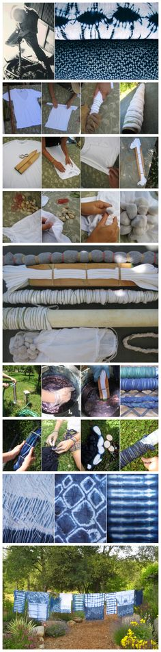 Shibori - NO TUTORIAL. Just this picture; however it is helpful to see the different techniques and results Techniques Shibori, Tie Dye Techniques, Shibori Fabric, Shibori Tie Dye, How To Tie Dye, How To Dye Fabric, Fabric Painting, Fabric Art, Textile Dyeing