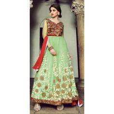 Designer  Embroidered Green & Maroon Heavy Net Anarkali Suit-2003(OFB-591)Karishma