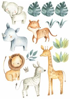Jungle Wall Stickers, Kids Wall Decals, Animal Wall Decals, Wall Mural, Watercolor Moon, Watercolor Animals, Safari Animals, Baby Animals, Rainbow Wall Decal