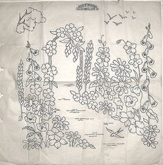 Vintage Briggs LARGE embroidery transfer - Flower Arch with Foxgloves & Lupins