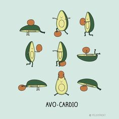 Esporte do abacate nesta copa! Regrann from - from with . with avo-cardio. its a thing / . Cute Puns, Funny Puns, Funny Cartoons, Hilarious, Cute Avocado, Avocado Food, Avocado Art, Avocado Dessert, Avocado Recipes