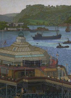 Charles Ginner, Plymouth Pier from the Hoe, 1923 - Plymouth City Council Museum and Art Gallery Landscape Art, Landscape Paintings, Landscapes, Nature Paintings, Plymouth England, Seaside Beach, Post Impressionism, Art Uk, Vincent Van Gogh