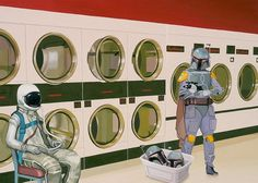 At the Laundromat with Boba Fett Greeting Card by Scott Listfield