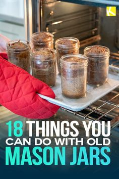 18 Things You Can Do with Old Mason Jars - - Listen up, all you Mason jar lovers out there. There are so many things you can do with old Mason jars — from food hacks to gift hacks to growing herbs. You don't wanna miss this. Mason Jar Projects, Mason Jar Crafts, Mason Jar Diy, Gifts With Mason Jars, Uses For Mason Jars, Mason Jar Desserts, Diy Hanging Shelves, Floating Shelves Diy, Diy Home Decor Projects