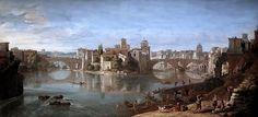Gaspard Van Wittel dit Vanvitelli. 1653-1736. Rome. L'île Tibérine à Rome. KHM Vienne Gaspar Van Wittel said Vanvitelli. From 1653 to 1736. Rome. The Tiber Island in Rome. KHM Vienna