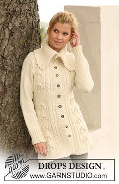 """Knitted DROPS jacket with textured pattern and large collar in """"Nepal"""". Size S - XXXL. ~ DROPS Design"""