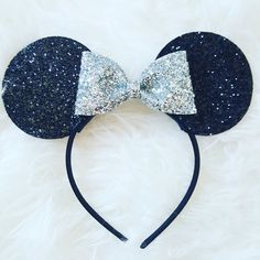 Minnie Mouse Ears Headband Minnie Mouse Birthday Minnie Mouse Headband... ($24) ❤ liked on Polyvore featuring accessories, hair accessories, barrettes & clips, silver, hair clip accessories, silver headband, barrette hair clip, sparkly headbands and headband hair accessories