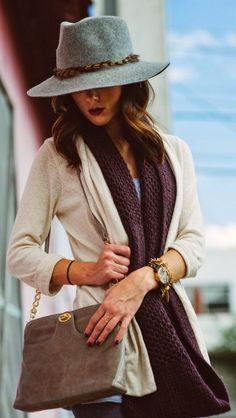 hat + scarf + bag