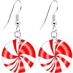 Red White Holiday Peppermint Earrings | Body Candy Body Jewelry