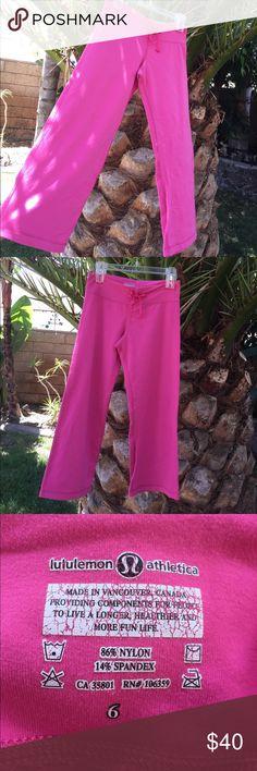 Hot pink vintage lululemon yoga pants size 6 Hot pink vintage lululemon flare yoga pants size 6.  These are the original ❤️ lululemon athletica Pants Track Pants & Joggers