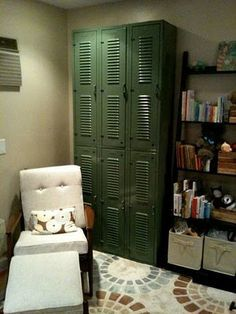 Army themed kid's bedroom. NO green walls, just olive accessories