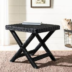 Safavieh Manor Black Wicker X-Bench - x x Rattan, Wicker, Colored Weave, X Bench, Ottoman Table, Black Side Table, Wood End Tables, Wood Patterns, Shabby Chic Furniture