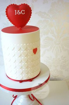 Large Red Love Heart Wedding Cake