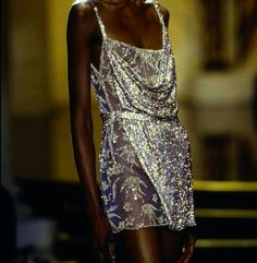 """voguedolce: """" Debra Shaw for Versace Fall 1997 """" 80s Fashion, Look Fashion, Couture Fashion, Runway Fashion, High Fashion, Fashion Dresses, Vintage Fashion, Fashion Design, Winter Fashion"""