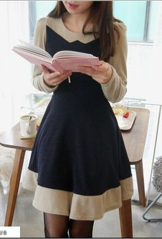 Trendy Womens Long Sleeve Casual Color Block Fashion Short Party Dress New 1CD | eBay