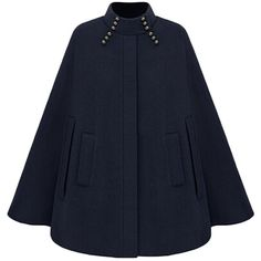Azbro Women's Fashion Winter Warm Woolen Cape Cloak Coat ($50) ❤ liked on Polyvore featuring outerwear, coats, navy cape, navy blue coat, wool capes, cloak cape and navy blue cape
