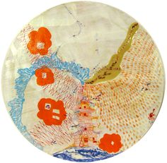 "D.S. Nicholas Pagoda Corona, how do you change the weather again? 2010 Acrylic, ink, recycled paper, relief print on board 24"" Diameter"