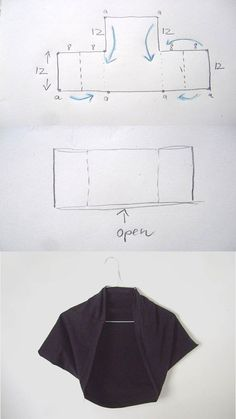 DIY Square Bolero Tutorial idea for bolero jacket for citrus interviewDIY Square Bolero Tutorial - for when I actually know how to sew!Easy pattern and sewing: bolero jacket / topLecture d'un message - mail Orange PlusShrug you sew Diy Clothing, Sewing Clothes, Clothing Patterns, Dress Patterns, Sewing Patterns, Sewing Hacks, Sewing Tutorials, Sewing Projects, Diy Kleidung