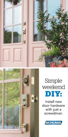 Make a statement with your front door. The clean lines our Century Handleset paired with an Antique Brass finish combine to make a great first impression in this eclectic home. Best of all, Schlage door hardware installs easily with just a screwdriver, making it the perfect weekend DIY.