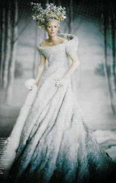 Winter Queen Makeup - Tilda Swinton in her dress for Narnia