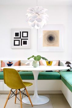 HGTV loves this colorful, modern dining nook with banquette seating and a white tulip table. Coin Banquette, Banquette Seating In Kitchen, Dining Nook, Dining Room Design, Nook Table, Dining Table Bench, Kitchen Design, Dining Corner, Corner Seating