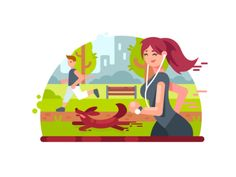 Young girl running in park illustration