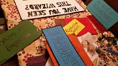 We painted and wrote on old cardboard! Great props for the budding wizard in your family! Diy Party, Party Ideas, Harry Potter Diy, Writing, Cover, Ideas Party, Being A Writer