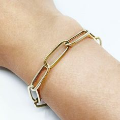 14k Solid Gold Flat Paperclip Chain Bracelet /14K Large Paper Clip Chain Bracelet / Real Gold Big Paper Clip Chain Bracelet / Gold Bracelet Gold Bracelet Price, Solid Gold Bracelet, Butterfly Bracelet, Gold Flats, Colorful Bracelets, Gold Coins, Paper Clip, Chains, Sterling Silver Rings