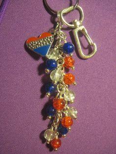 Red White Blue Glass Bead Purse Charm Key Chain with USA Heart Charm America