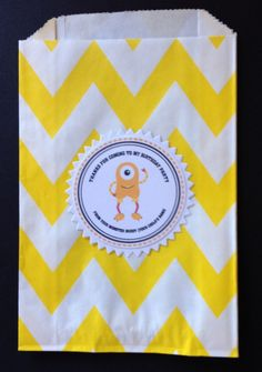 Yellow Monster Tag and Bag Monster Bags and by Justabitofpaper, $10.00