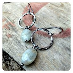 Fine Silver Hammered Hoops with Aquamarine by jenjems on Etsy, $30.00
