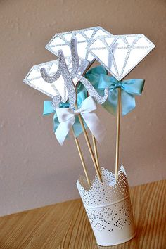 """Our Confetti Momma """"Diamond & Initial Wands"""" are perfect for a personalized and unique centerpiece for your Breakfast at Tiffany's inspired"""