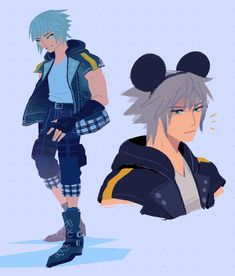 Two illustrations of Riku from Kingdom Hearts in his newly announced outfit. The first is cool toned and shows off his clothes, the second is a bust of Riku with Mickey Mouse ears.