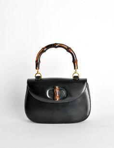 33cd4609b8db Gucci Vintage 1960s Black Leather Bamboo Handle Handbag - Amarcord Vintage  Fashion #guccivintagehandbags1960