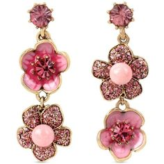 Betsey Johnson Pink Gold-Tone Memoirs Of Betsey Flower Double Drop... ($40) ❤ liked on Polyvore featuring jewelry, earrings, accessories, pink, blossom jewelry, flower earrings, polish jewelry, pink drop earrings and pink flower earrings