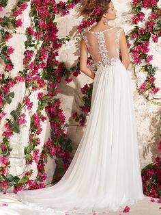 A-Line Straps Neckline Court Train Chiffon Wedding Dress With Applique
