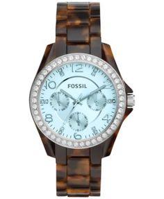 Fossil Women's Riley Tort Acetate Bracelet Watch 38mm ES4012 | macys.com