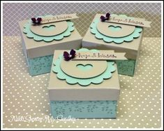 """The base is 6""""x 6"""" Soft Sky Punched & Scored @ the 2"""" mark on all sides, then l lined up the score lines on the EPB little arm/tab and punched and scored on all sides again..Done! l haven't cut or glued the box, l created a lid for easy opening. The lid dimensions are...3-3/8"""" x 3-3/8"""" Sahara Sand cardstock. Scored @ 1/2"""" on all sides to create a 2-3/8"""" lid. I then snipped one of the corner scores on all sides to create the flaps, that l then taped inside."""