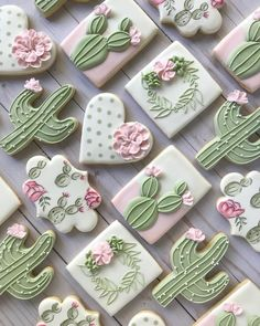 Sweet home Arizona 🌵💕  Loved making this cactus theme set as a gift for someone who recently moved to Arizona! Fancy Cookies, Iced Cookies, Cute Cookies, Royal Icing Cookies, Cupcake Cookies, Sugar Cookies, Cupcakes, Cookie Favors, Heart Cookies