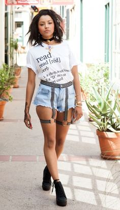 Kat Graham shows off henna tattoo in a pair of shorts with suspenders Katerina Graham, Vampire Diaries, Bonnie Bennett, Fc B, Zara, Celebrity Outfits, Girl With Hat, Celebs, Celebrities