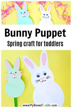 Bunny Puppet Spring Craft For Toddlers - Bunny Puppets Are Easy To Make For Awesome Pretend Play With Toddlers Easter Arts And Crafts, Preschool Arts And Crafts, Craft Stick Crafts, Craft Sticks, Easter Activities For Toddlers, Spring Activities, Spring Toddler Crafts, Craft Projects For Kids, Kids Crafts