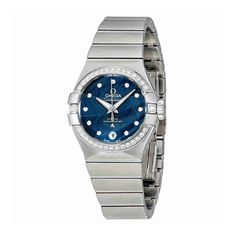 Omega Constellation Automatic Ladies Watch 123.15.27.20.53.001. Stainless steel case with a stainless steel bracelet. Fixed stainless steel diamond-set bezel. Blue lacquered dial with luminous silver-tone hands and diamond hour markers. Dial Type: Analog. Luminescent hands and markers. Date display at the 6 o'clock position. Omega calibre 8520 automatic movement with a 50-hour power reserve. Scratch resistant sapphire crystal. Screw down crown. Transparent case back. Case size: 27 mm…