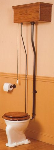 Antique Toilet With Wall Mounted Tanks And Pull Chain