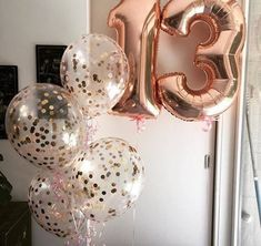Giant Rose Gold Balloon Numbers/ Rose Gold Number Balloons/ XL Number Balloons/ Rose Gold Balloo - Decoration For Home 13th Birthday Party Ideas For Girls, Gold Birthday Party, 13th Birthday Parties, 14th Birthday, Teen Birthday, Birthday Balloons, Happy Birthday, Rose Gold Number Balloons, Gold Confetti Balloons