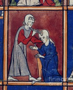 Operation on patient's skull, (Detail) The second miniature of a set of six showing the stages of an operation for a compound fracture of the skull. Image taken from Chirurgia. Originally published in France (near Amiens); 1300-1310.