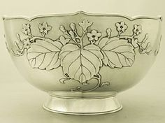 Japanese silver presentation bowl with applied cherry-blossom motif, by Miyamoto Shoko c1917 (ac silver)